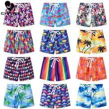 Short de banho infantil, calção de banho estampado para meninos e meninas roupas de banho casuais para praia