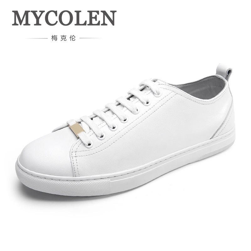 MYCOLEN 2018 The New Listing Spring Summer White Casual Shoes Mens Canvas Shoes For Men Lace-Up Brand Fashion Flat Shoes brand new spring casual boys canvas low top shoes slip on mens lightweight canvas shoes for young men fashion flat shoes ac 07