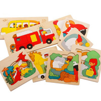 Free Shipping Kids Children Educational Wooden Toys Multilayer Cartoon 3D Animal Puzzle Baby Gift One Piece