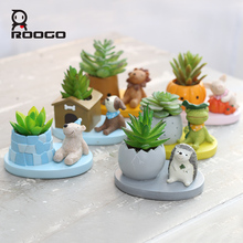 ROOGO 6 Formă Drăguț Animal Planters Japoneză Kawaii Stil Suculente Floare de flori Mini Bonsai Desktop Office Home Garden Container