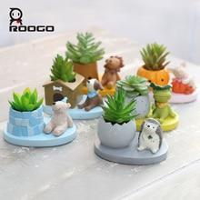 Купить с кэшбэком ROOGO 6 Shape Cute Animal Planters Japanese Kawaii Style Succulents Flower Pot Mini Bonsai Desktop Office Home Garden Container
