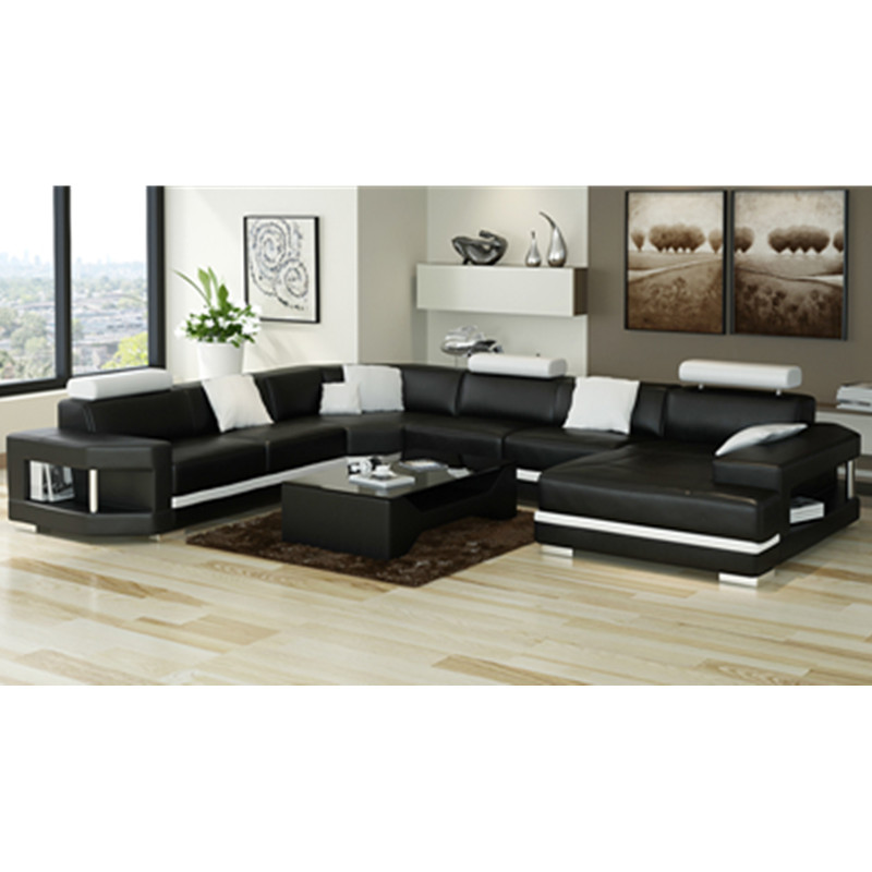 US $1468.0 |modern U shape black leather sofa-in Living Room Sofas from  Furniture on AliExpress