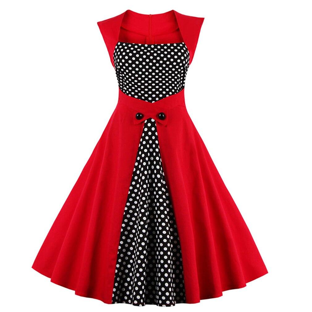 New Sexy 50s Dot Elegant Summer Dress Patchwork Retro Dress Vintage Dress for Women Casual Evening Party Sleeveless Rockabilly