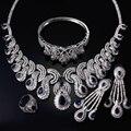 Joyería nupcial De La Boda de Platino plateado Con Montana Cubic Zirconia Collar + Pendientes + Anillo + Pulsera Joyería de Las Mujeres