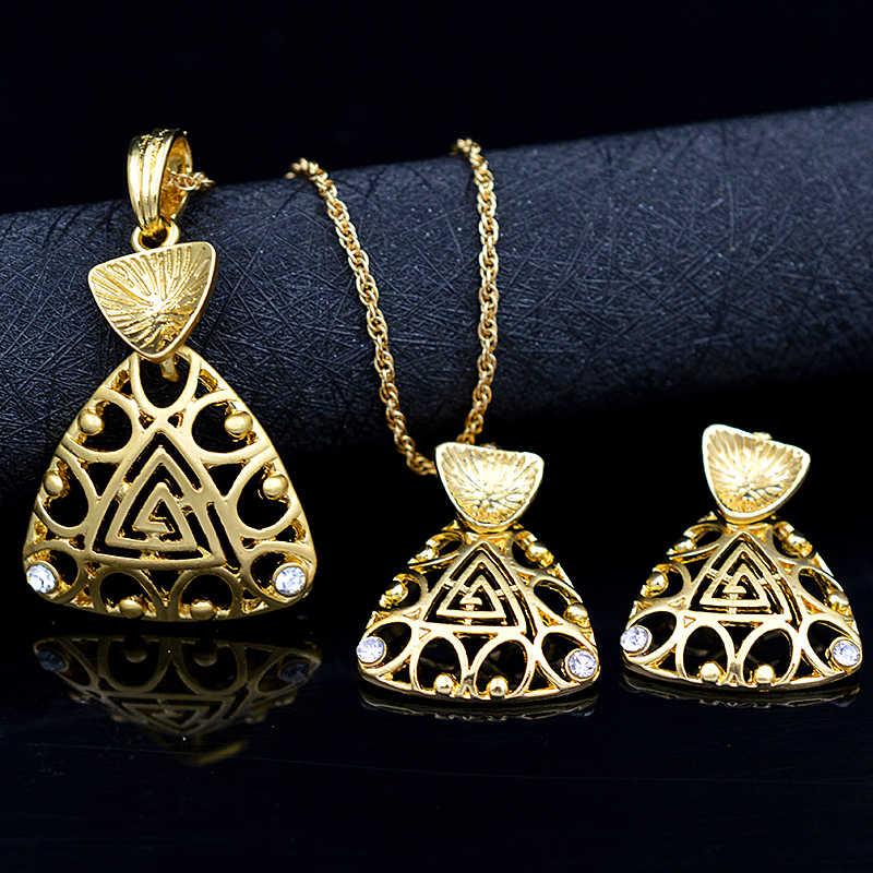 Ensoleillé bijoux alliage cubique zircone coeur Triangle femmes collier boucles d'oreilles pendentif bijoux ensembles évider pour fête cadeau quotidien
