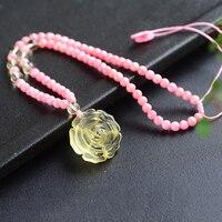 핑크 자연 패턴 돌 목걸이 손 조각 노란색 꽃 펜던트 비즈 스웨터 체인 목걸이 도움이