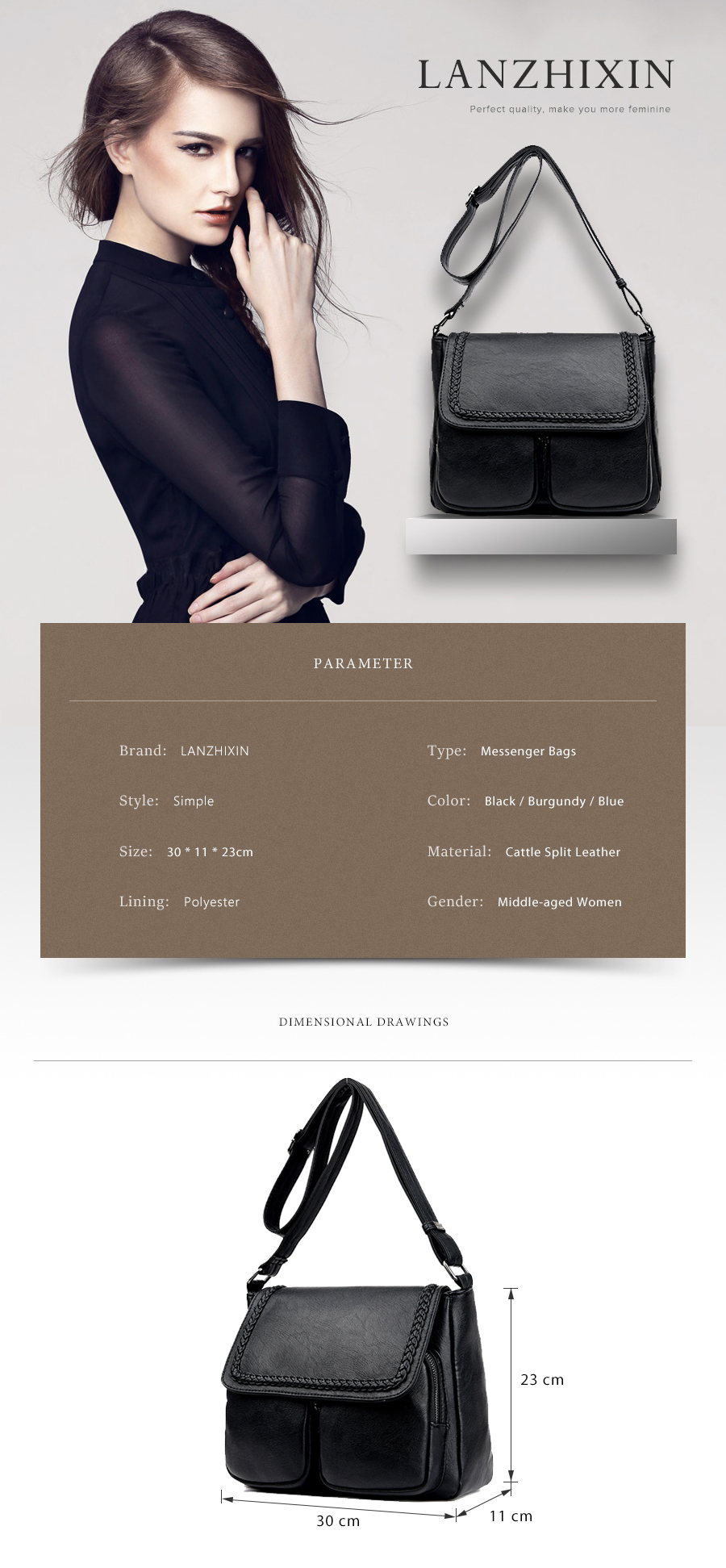 5f661ad534bd Lanzhixin Women Simple Fashion Leather Tote Bags Vintage Women Messenger  Bags Crossbody Middle-aged Mother Retro 1036