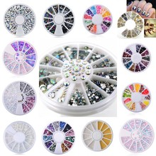 1 Wheel Mixed Nail Art Rhinestones 2mm/3mm/4mm/ Caviar Beads Manicure 3D Charms Decorations Accessories NRW01