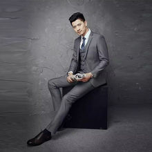 LZ-X004 New Style Silver Men's Suit Custom Made Fashion Slim Groom Suits Handsome Man Good Quality 2017 Winter Collection