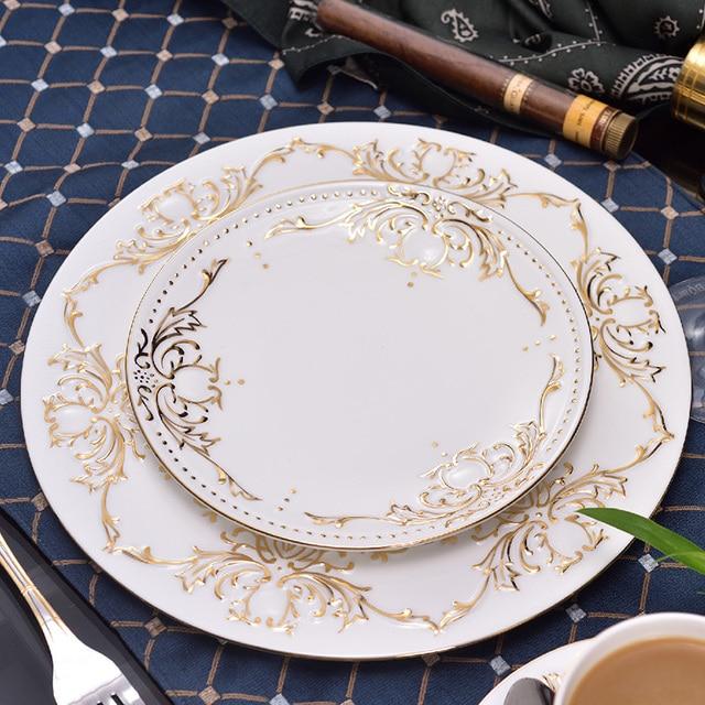 Set of 2 pcs Bone china dinner plates tableware set ceramic Service plate Dessert plate Diet & Set of 2 pcs Bone china dinner plates tableware set ceramic Service ...