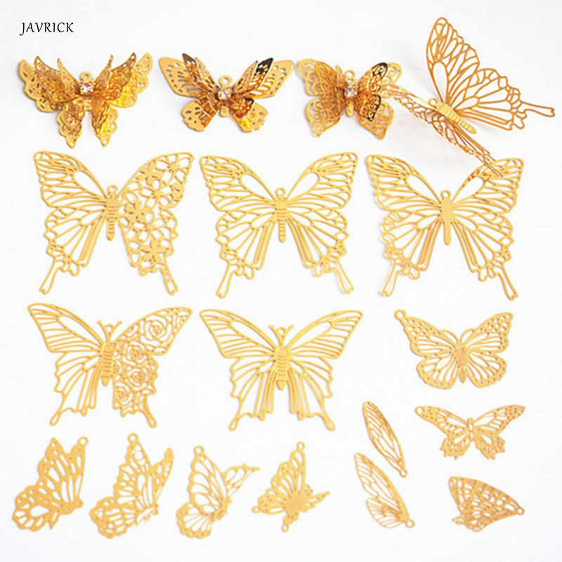 DIY Filler Epoxy Resin Mold Decoration Butterfly Golden Copper Hollow Crafts Ornaments Filling Jewelry Necklace Making Tools