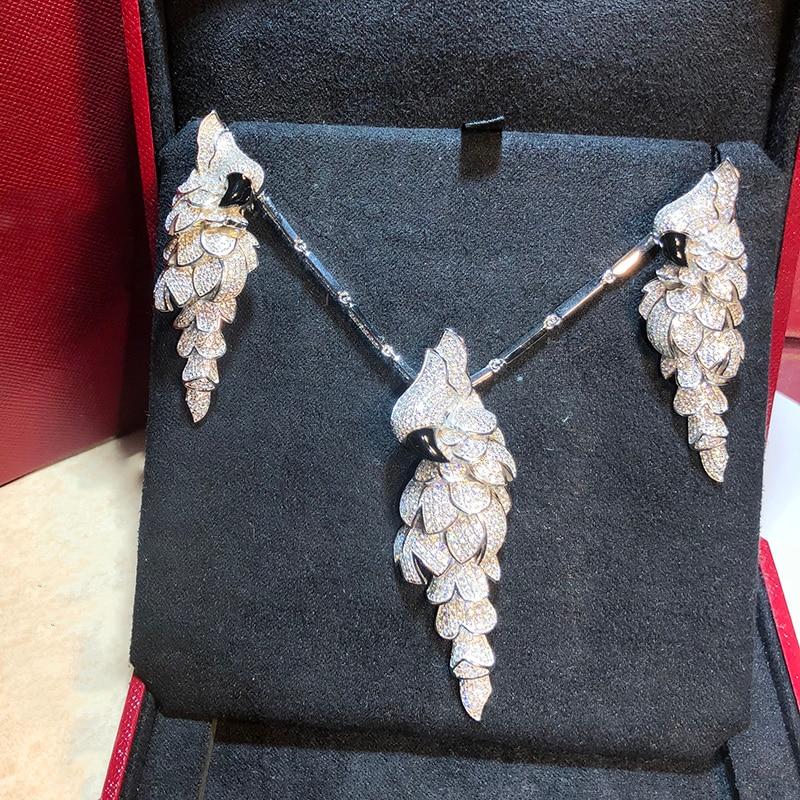 Classic Brand Pure 925 Sterling Silver Jewelry For Women Animals Bird Wedding Jewelry Set Big Parrot Bird Neckacle Earrings Set стоимость