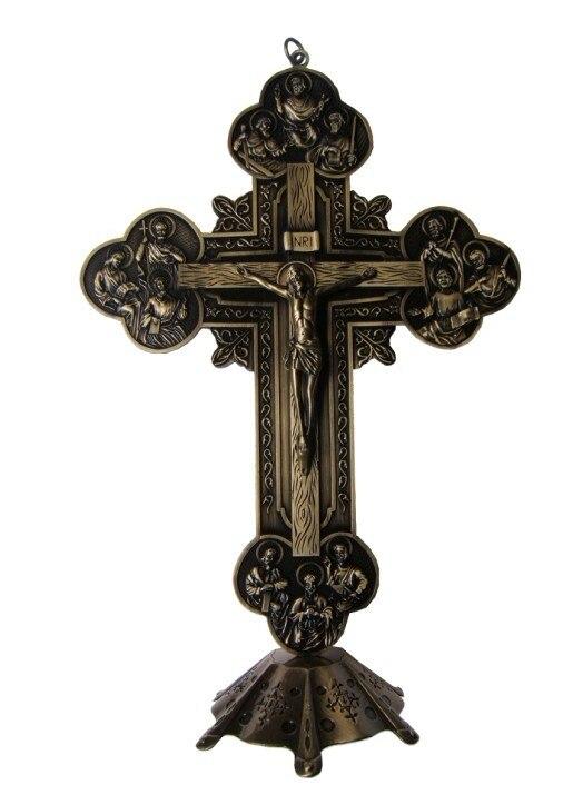 12 apôtres croix INRI chrétien jésus Emmanuel catholique saint ornement Jesu Crucifix agneau de dieu tenture murale décor environ 32.5CM