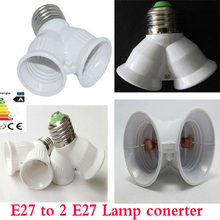 New E27 to Double E27 Socket Base Extender Splitter Plug Halogen Light Lamp Bulb Holder Copper Contact Adapter Converter Xmas(China)