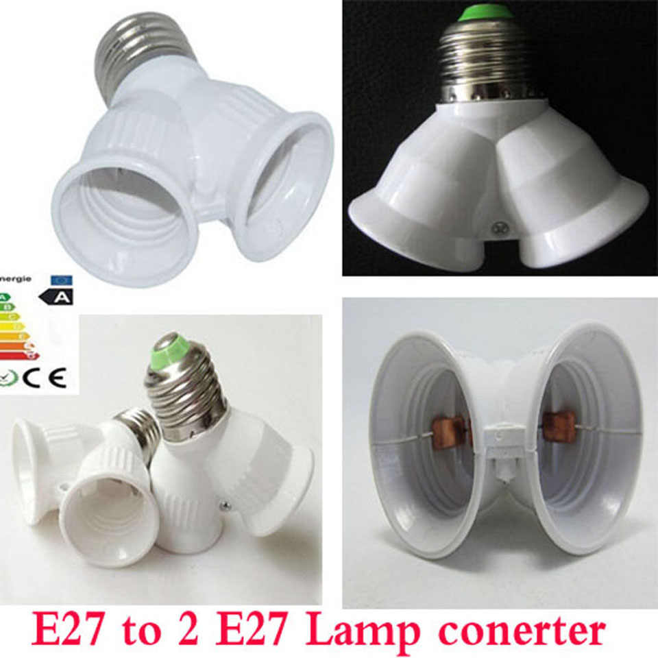 New E27 to Double E27 Socket Base Extender Splitter Plug Halogen Light Lamp Bulb Holder Copper Contact Adapter Converter Xmas