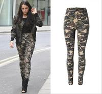 Women Skinny Jeans Camo Green Sexy Beggar Knee Hole High Waist Stretch Jeans For Women Brand