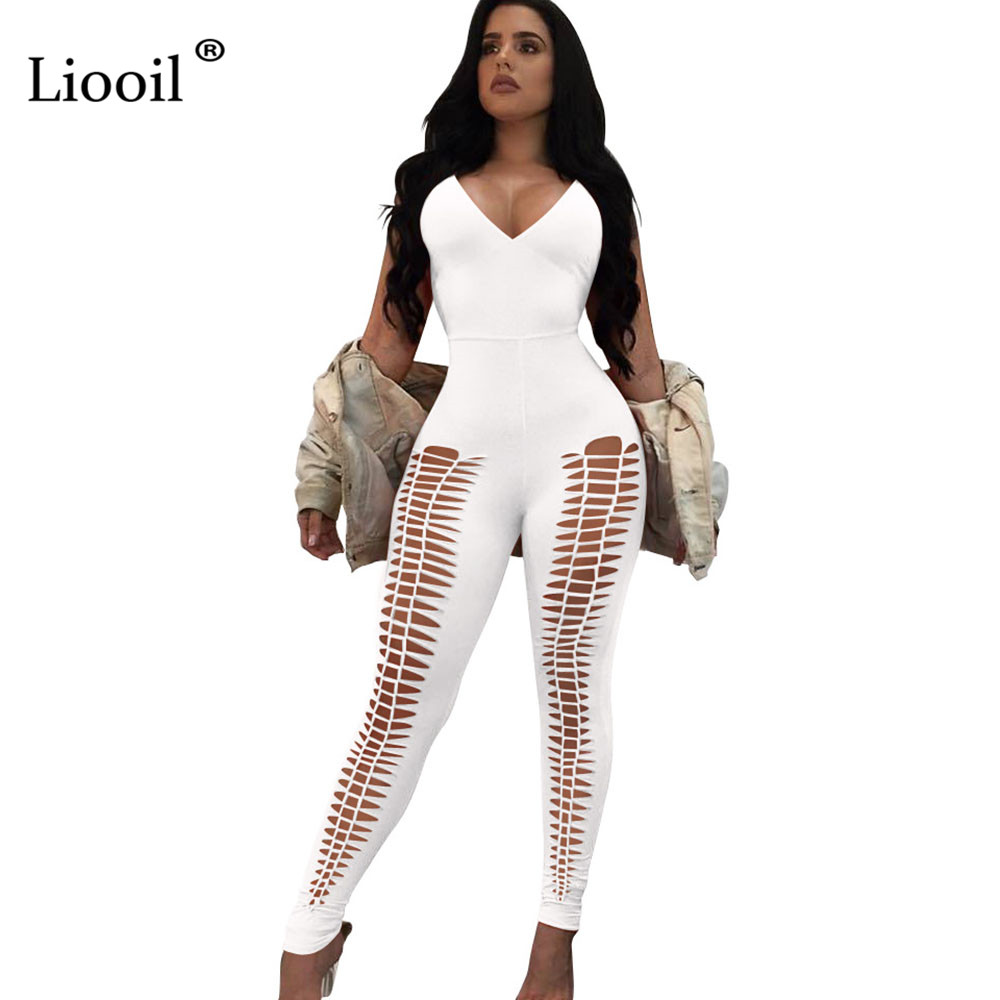 Liooil Sexy Hollow Out Spaghetti Strap Bodycon Jumpsuits Backless V Neck Strapless Party Black White Red Rompers Womens Jumpsuit