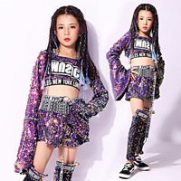 2019 new Children Jazz Dance Costumes Sequins Street Dance For Girls Jacket Kids Modern HipHop Performance Suit 110 160cm height