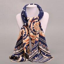 New 2016 Women Scarf 100% Twill Silk Euro Brand Flower Print 100cm*100cm Square Scarf Female Muslim Headscarf High Quality Shawl