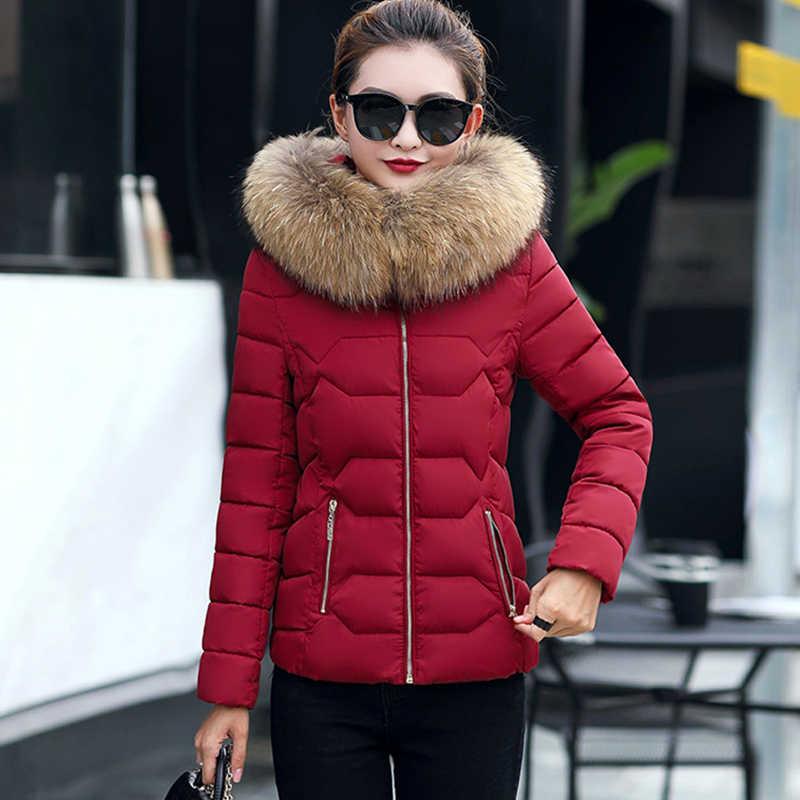 4cc977dab6b ... Теплый меховой воротник с капюшоном короткие женские парки тонкий  Модные женские туфли стеганая куртка зимняя Повседневное ...