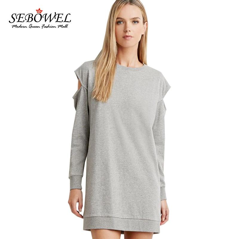 Solod sebowel invierno gris del o-cuello mujeres casual dress off the hombro man