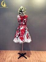 Рейн Реальный образец Sexy с цветочным принтом Атлас сексуальное дешевле до колена Лидер продаж; вечерние платья для выпускного вечера