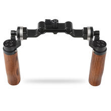 CAMVATE 15mm Rod Clamp Mount & Wooden Handle Grip Shoulder Rig For ARRI Rosette DSLR Camera Photography Kit C1495