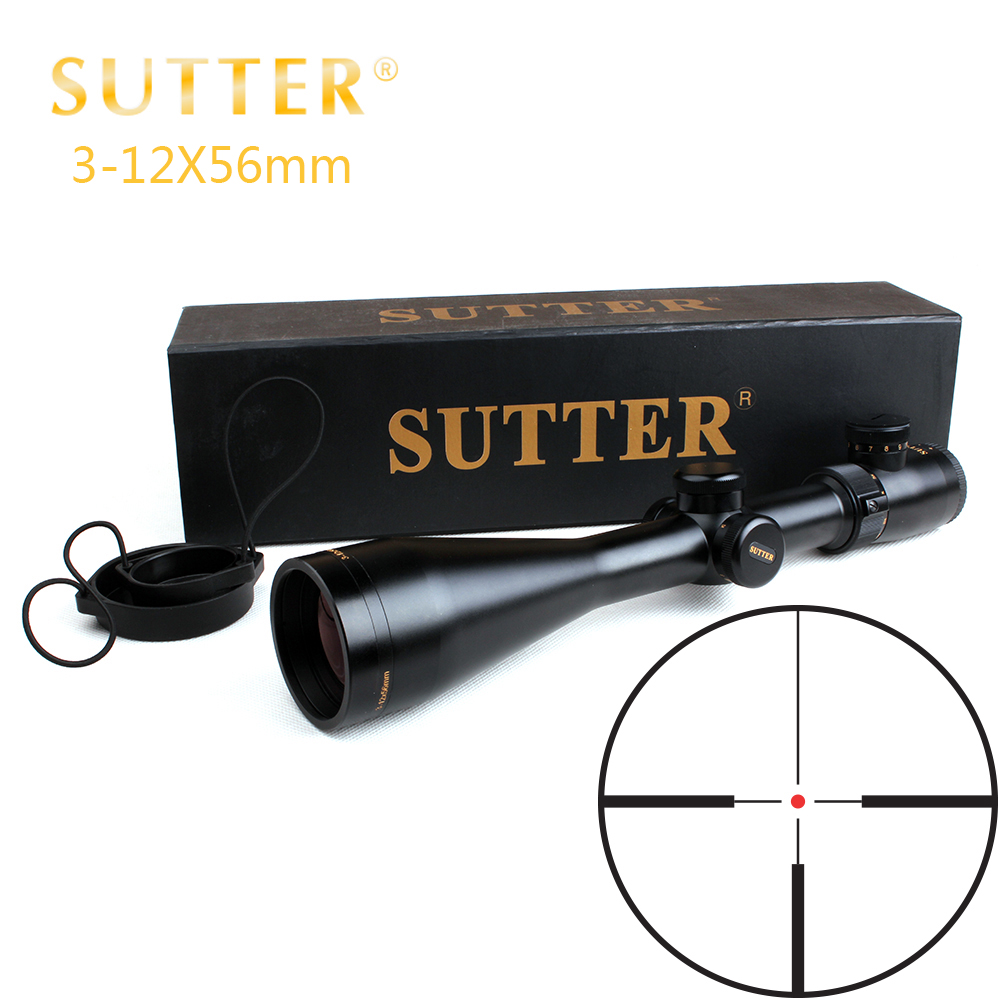 SUTTER 3-12X56 Rifle Scope R12 Glass Etched Reticle Red Illuminated Side Parallax Optical Sight For Hunting Riflescope zos 3 12x44e hunting rifle scope r29 glass etched reticle red green illuminated riflescope tactical optical sight free shipping