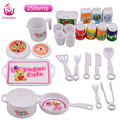UCanaan 25 pcs DIY Plastic Dinner Set for Barbi Doll Educational Classic Toy Children Kids  Pretend Play Kitchen Food Toy Gift