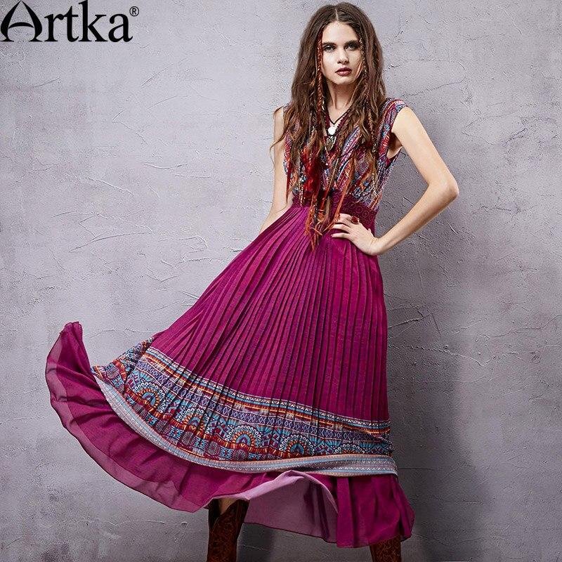 Artka Womens 2018 Summer Ethnic Printed Chiffon Two-pieces Dress Fashion Sleeveless Empire Waist Draped Hem Dress LA14550X