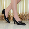 2016 New women's shoes genuine leather high heels Point toe women pumps for office Lady dress Red shoes women 2588-125