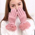 Wool and cashmere gloves ladies Ribbon bows in autumn and winter warm rabbit fur gloves