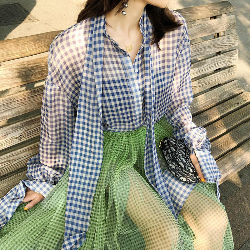 [EWQ] 2019 夏新ホリデースタイル高品質長袖格子縞の分割シャツルーズ大サイズのファッショントレンドブラウス QJ083
