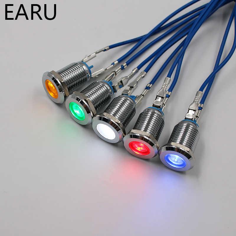 LED Metal Indicator Light 12mm Waterproof Signal Lamp 3V 5V 6V 9V 12V 24V 110V 220V Red Yellow Green White Blue Pilot Seal Bulb