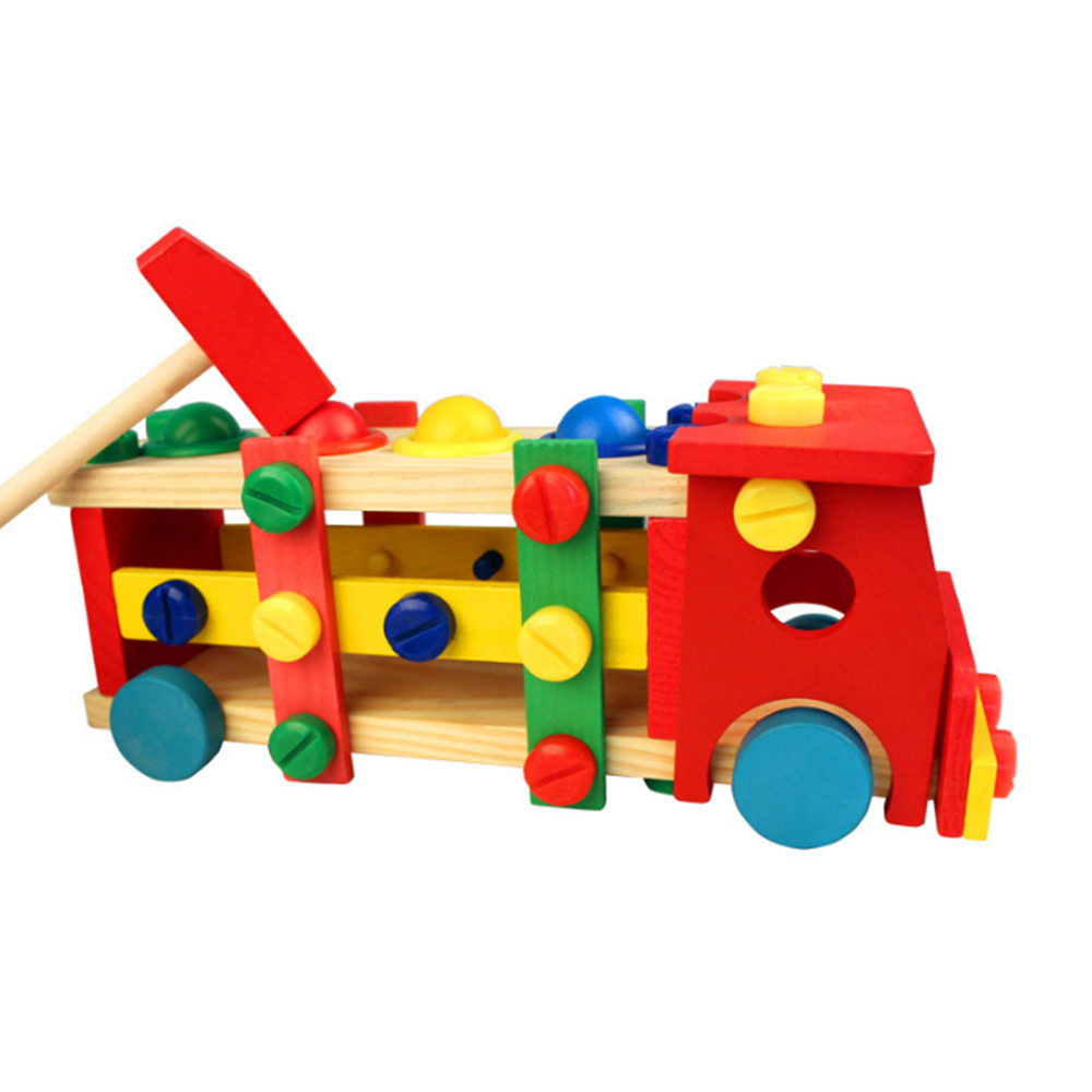 Children's Wooden Early Education Disassembly Nut Tool Car Toy Boy Puzzle Knocking Ball Disassemble Car Wooden Toys Puzzle Box