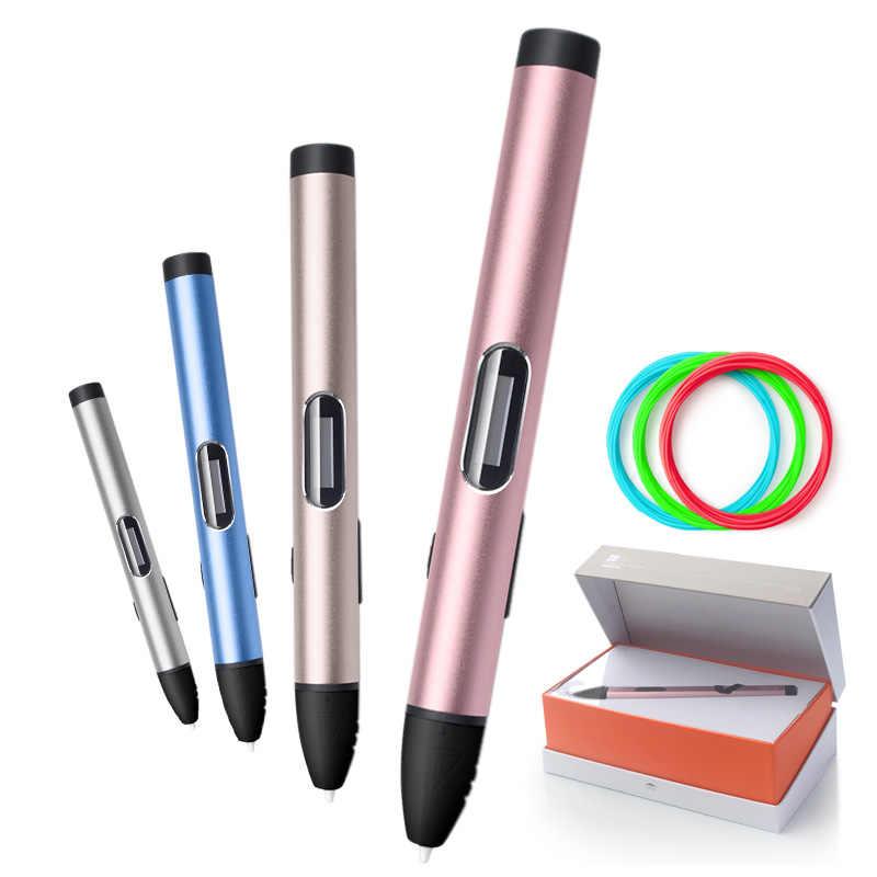 3D Pena 3D Pulpen Suhu Rendah, Melindungi Tangan 3D Pena Doodler Smart LED Display 3D Gambar Pen-3d-pens, USB Mobile Power