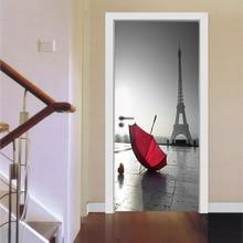 Romantic Scene Paris Tower Red Umbrella Square Door Sticker Waterproof Self Adhesive 3D PVC Door Sticker DIY Mural Imitation