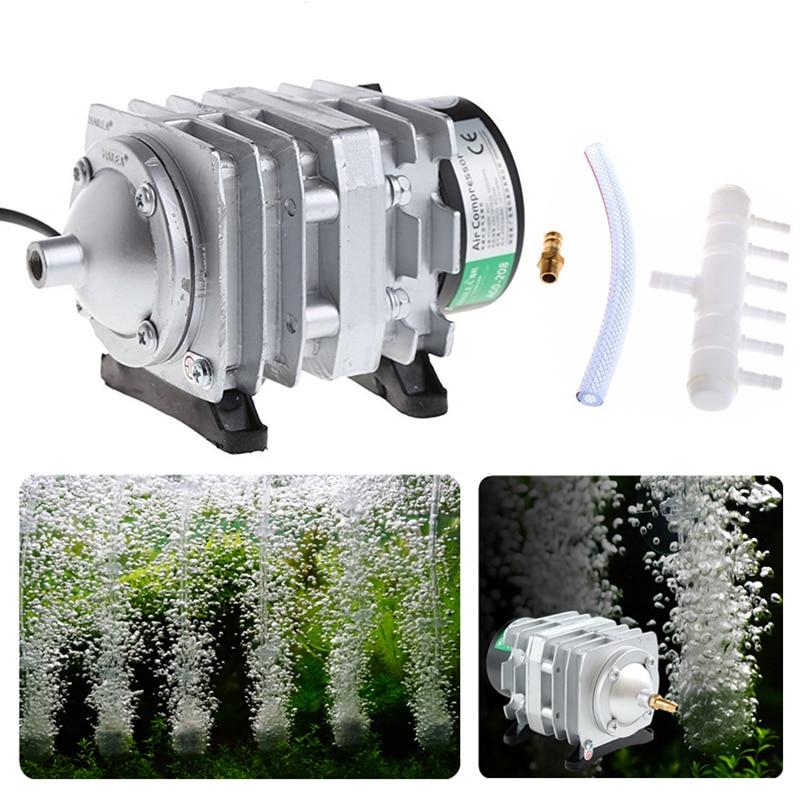 220V 25W/30W/35W/45W Electromagnetic Aquarium Air Compressor Fish Tank Pond Aquarium Air Pump Bubble Aerator With Air Spliter
