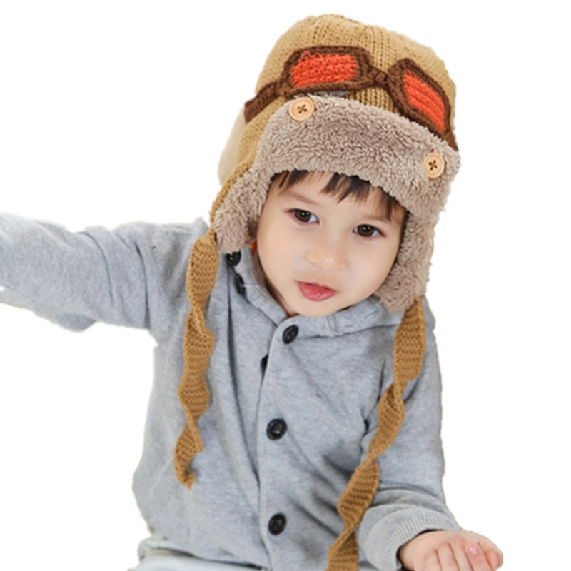 Fashion Boys Girl Hat Kids Autumn Winter Cartoon Flight Helmet Children Cap Warm Knitted Baby Kids Outdoors Windproof Hats the new children s cubs hat qiu dong with cartoon animals knitting wool cap and pile