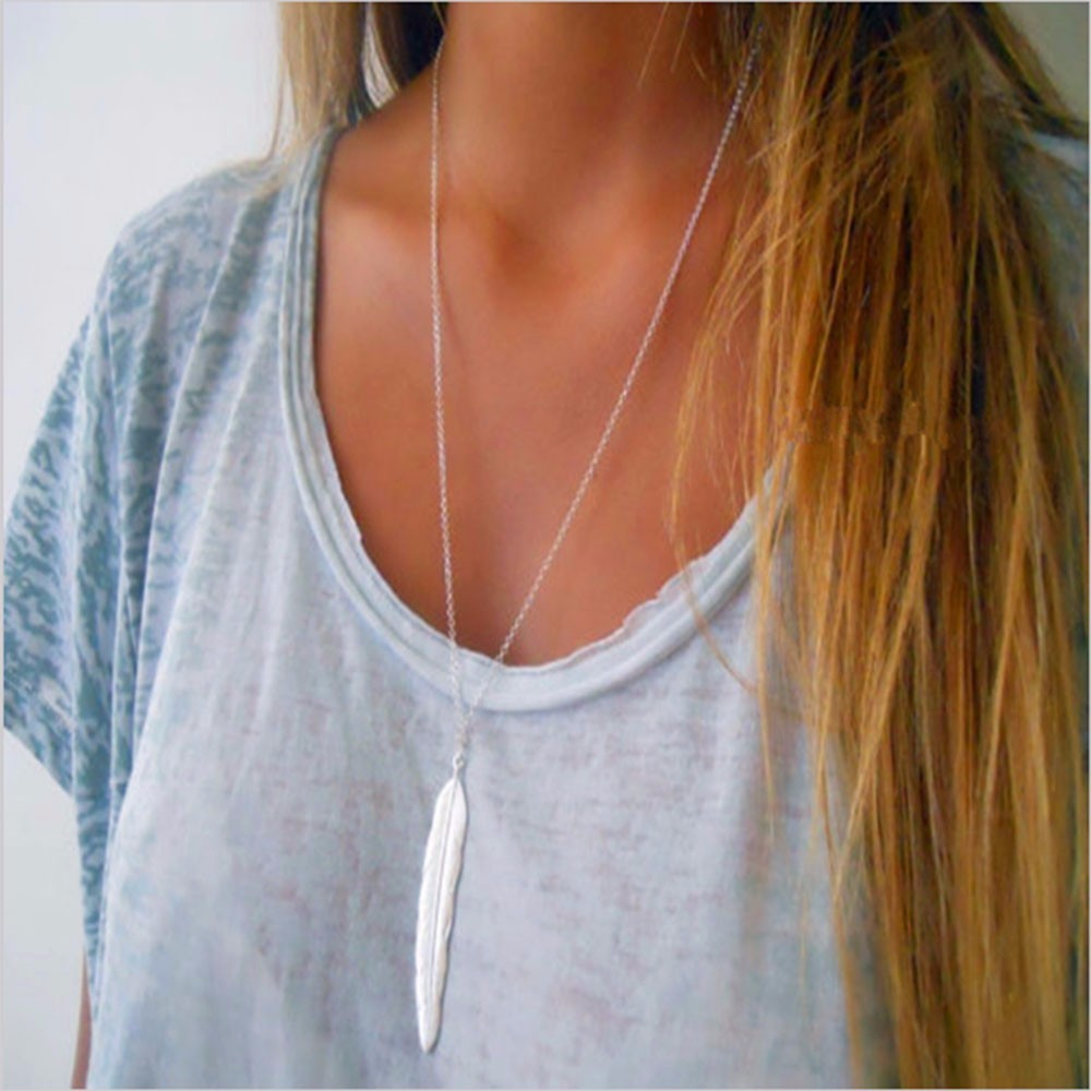 KISSWIFE Fashion Womens Vintage Long Necklace Jewelry Silver Gold Color Simple Feather Pendant Necklaces