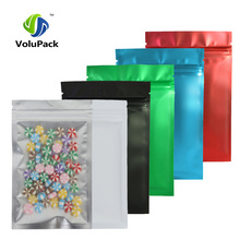 10x15cm(4x6in) 100pcs Tear Notch Flat Pouches Red/ Blue/ Green/ Black Translucent Zip Lock Bags Custom Printed