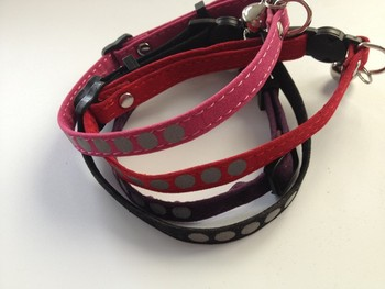 Free shipping reflective adjustable cat collar breakaway buckle safety with bell 100pcs/lot