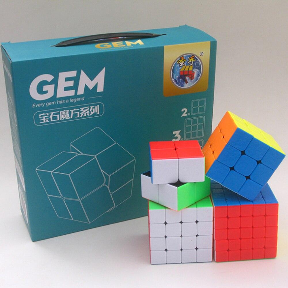 4 pièces/ensemble Cubos Megico 3*3 2*2 4*4 5*5 ShengShou vitesse sans bâton Cubes magiques professionnels 3x3 4x4 5x5 2x2 jeux et Puzzles