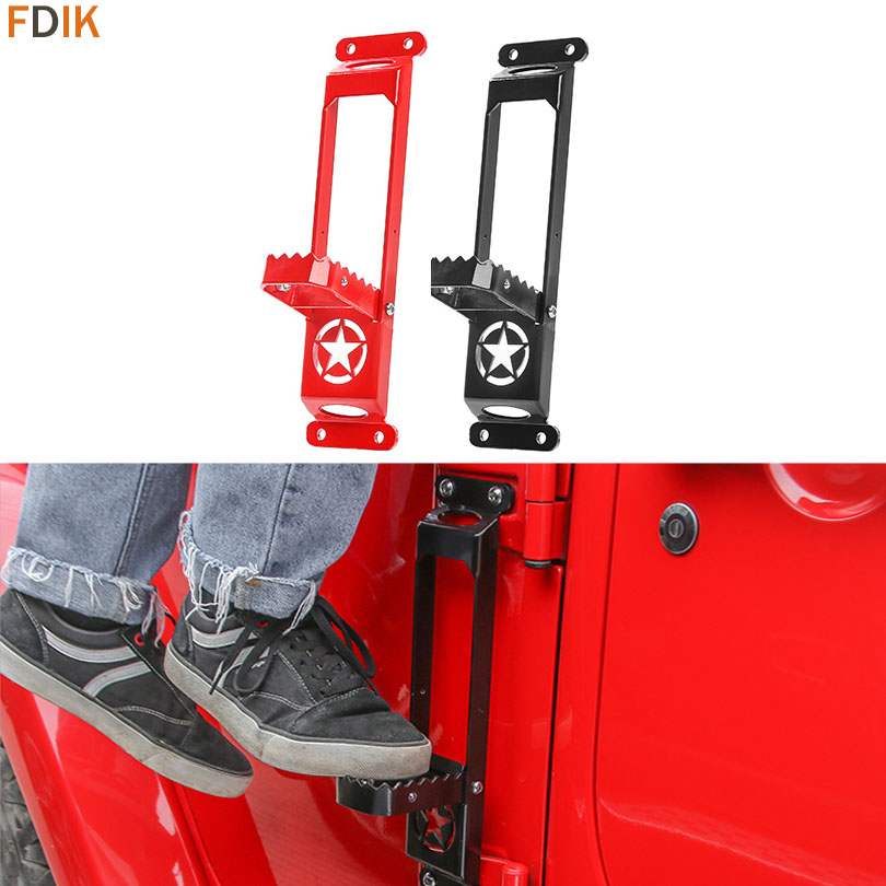 Foldable No Drilling Military Star Steel Exterior Door Step Hinge Foot Rest Pedal Peg Plate for Jeep Wrangler JK 2007 2017