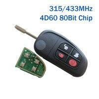 4BT Flip Remote Key for Jaguar X Type S Type S Type X Type XJ XK 315MHz/433Mhz 4D60 Chip