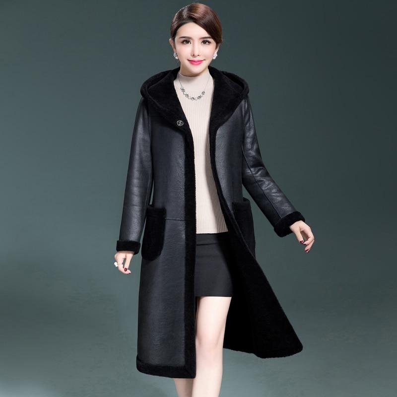 En Black Couleur Femmes Capuche Faux Cuir À Et Nouvelle Laine Manteau Mode 178 Longues D'hiver Manches Shd Noir qwnxvfIRwT