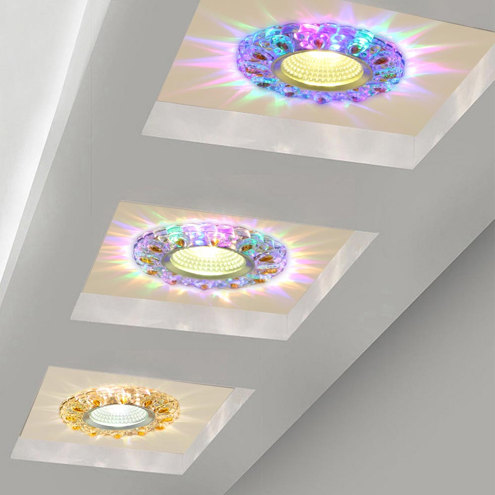 5W LED Crystal Recessed Ceiling Light Warm White+RGB 3 Modes Mini down Lamp Luminarias Light For Aisle Corridor Kitchen 85-220V