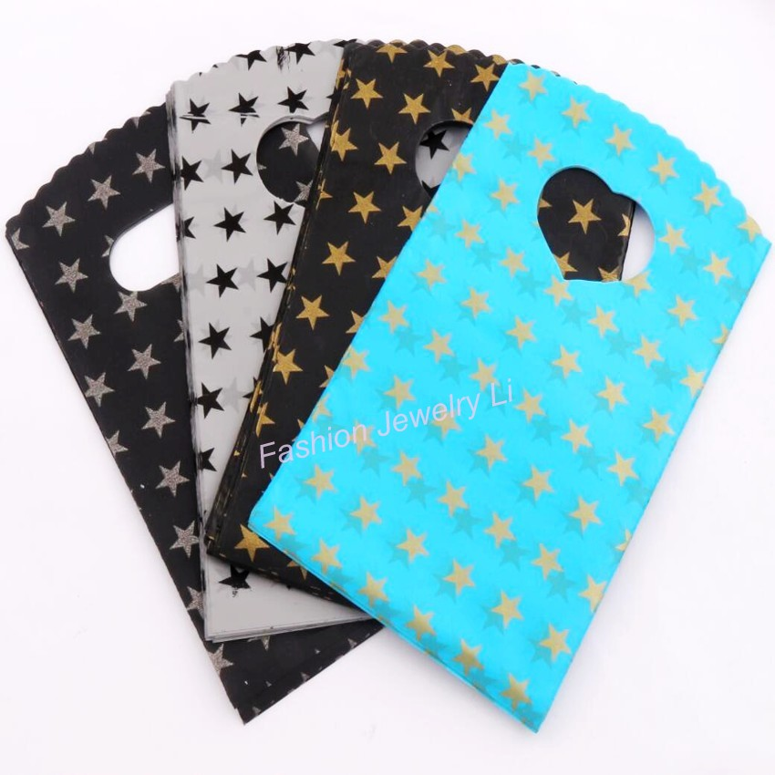 4Colors Black Grey Sky Blue With Stars Pattern Plastic Bag Gift Bags Jewelry Pouches GB003 100pcs New 9X15cm