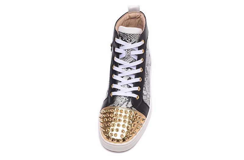 Cravejado Luxo High As Homens Moda Unisex Até Top Grife Sapatos Dos Hot Ouro Único Casuais Sneakskin Rendas Couro Red De Rebites Show zSqHwX