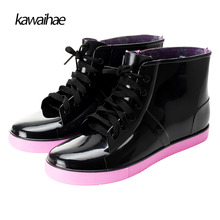 Rubber Shoes Rain Boots Women Comfortable Waterproof Round Toe Black Women Boots Kawaihae brand Ankle boots 922